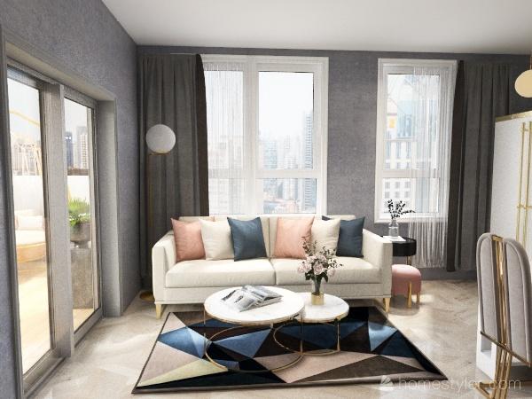 Flat (pink + blue) Interior Design Render