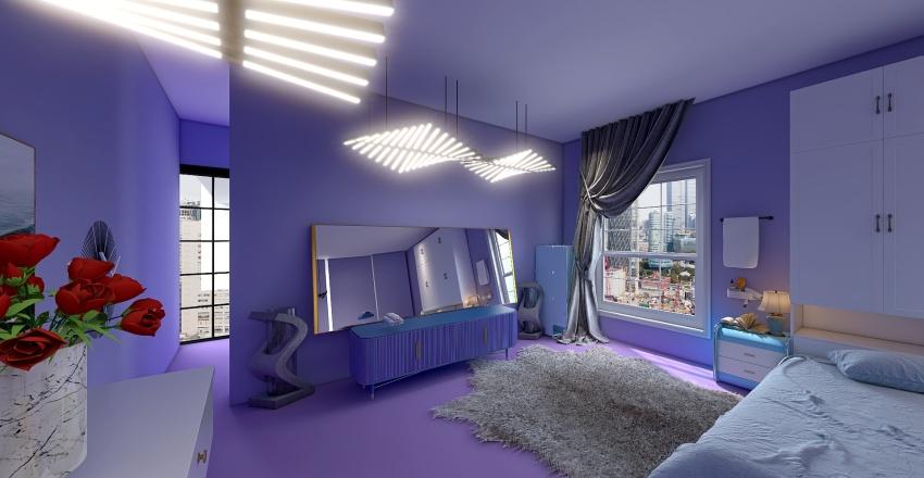 а violet and blue bedroom with a bath Interior Design Render