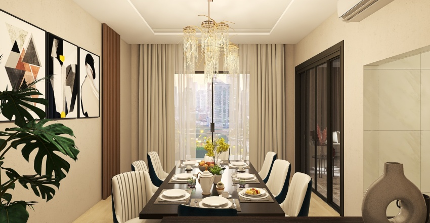 Living and Dining room Interior Design Render