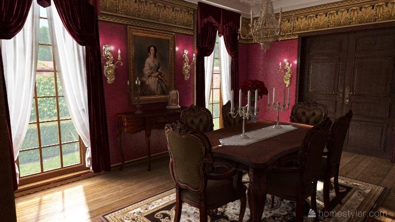 classical dinning room Interior Design Render