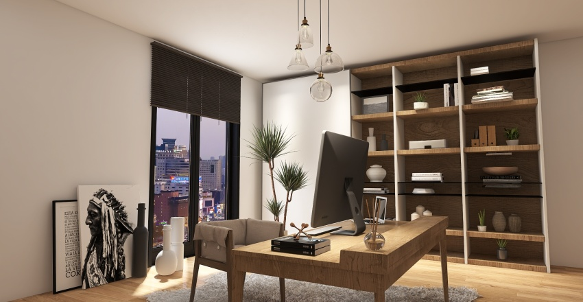 Living, Bedroom and Office Space for Harbour High-Rise Building  Interior Design Render