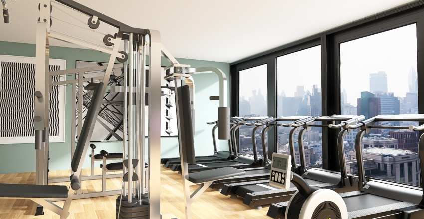 Indoor Gym and Green Office Space Harbour High-Rise Building  Interior Design Render