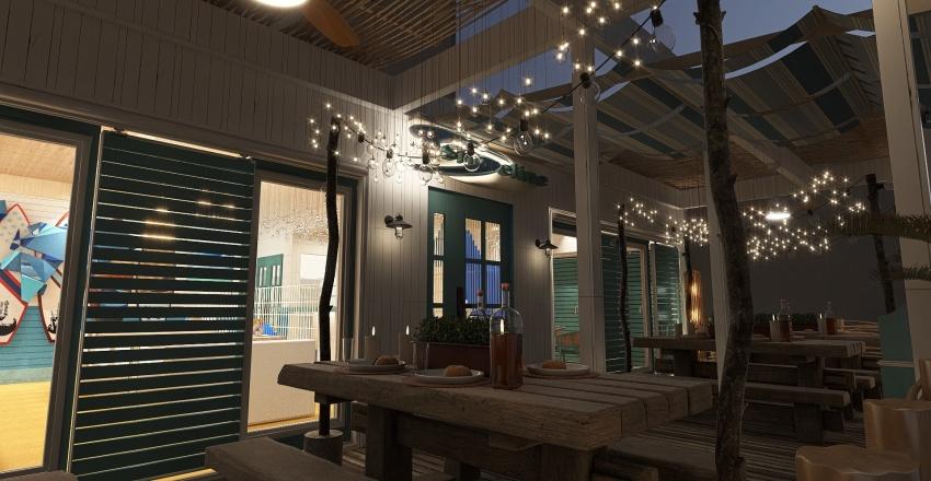 Coastal Theme Restaurant Interior Design Render