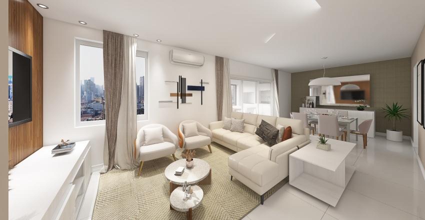 Projeto de Interiores - Apto Domo Life - Living ampliado Interior Design Render