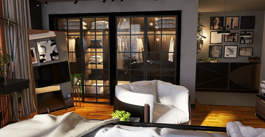 Dark Modern Apartment Bedroom Interior Design Render