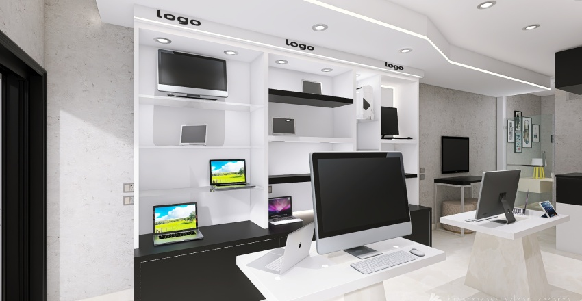 computer shop Interior Design Render