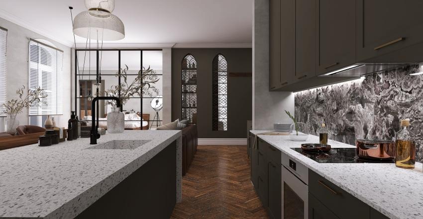   GREEN N' LEATHER   Interior Design Render