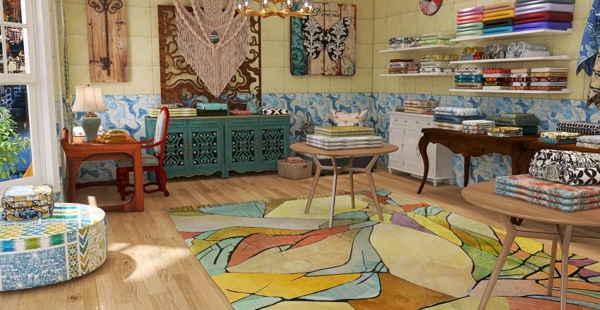 Small Fabric Store Interior Design Render