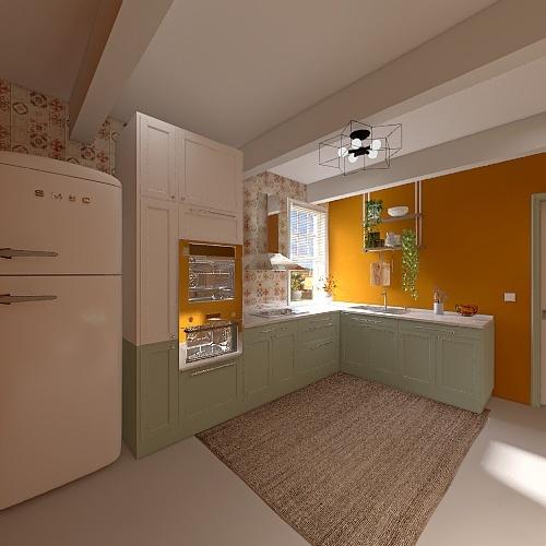 cocina orange Interior Design Render