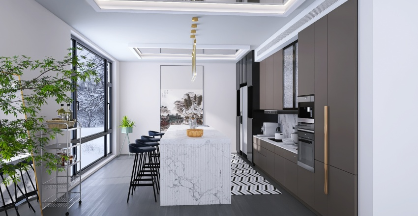 kitchen and dining room Interior Design Render