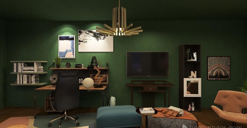 busy living room Interior Design Render