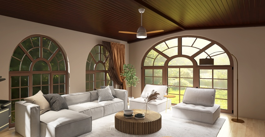 living room _ farmhouse design Interior Design Render
