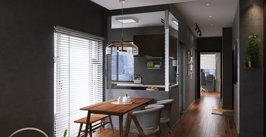 Modern Dark Wood Condo Interior Design Render