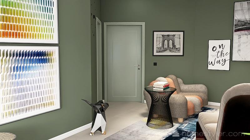 70s feel small apartment Interior Design Render