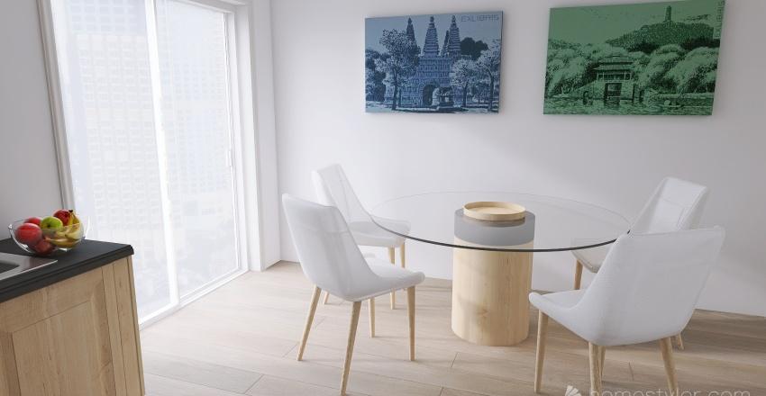 open space living Interior Design Render