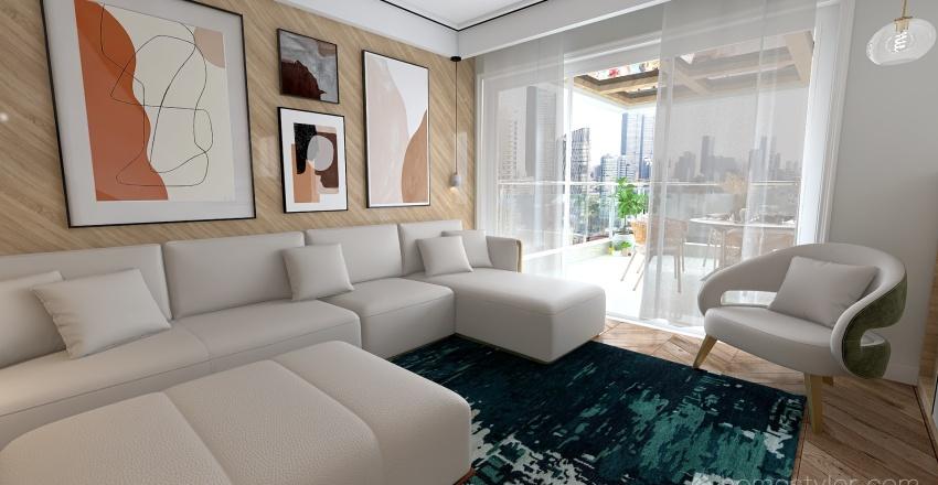 Room 4 - Natural Wood Tones Interior Design Render