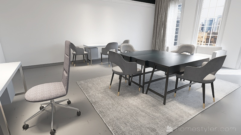 Official White And Black Office Interior Design Render