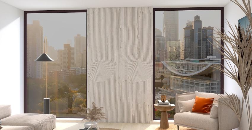 Sala de estar - apartamento con grandes ventanas Interior Design Render