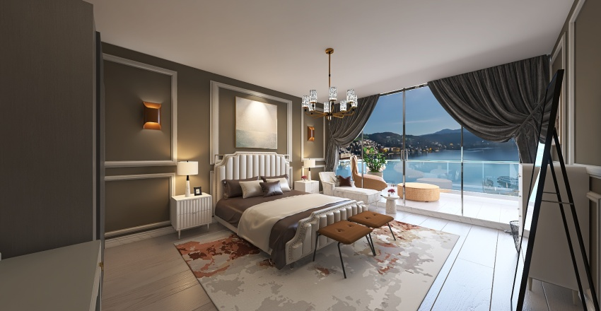 apartament bedroom Interior Design Render