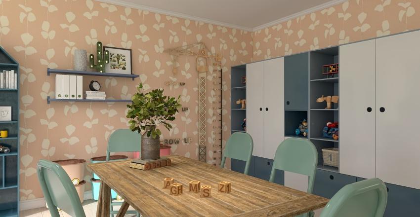 kids playroom / office Interior Design Render