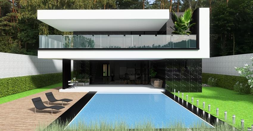 Siyah Beyaz Villa Interior Design Render
