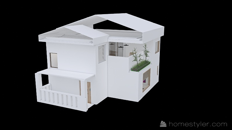 2 floor Simplest House Interior Design Render