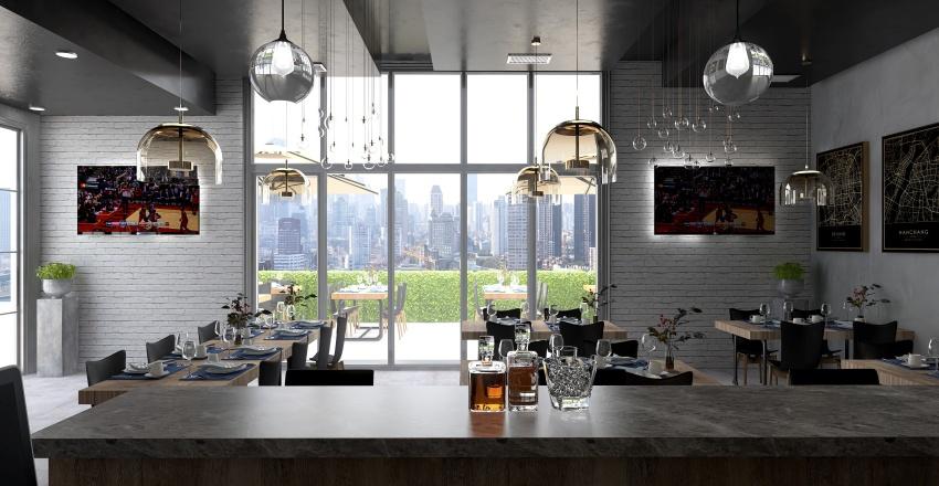 INDUSTRIAL STYLE RESTAURANT Interior Design Render