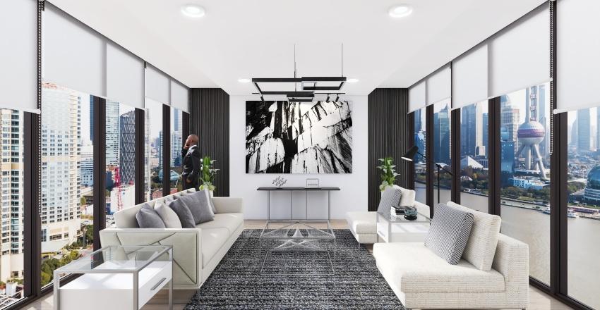 CONTEMPORARY MINIMALIST LIVING ROOM Interior Design Render