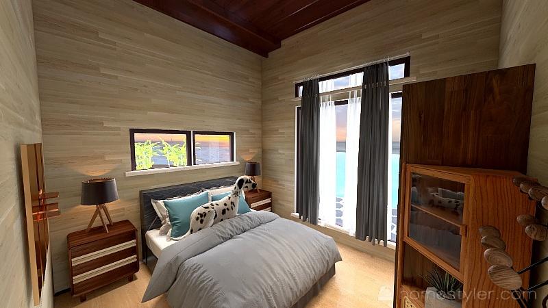 Casa tigre con cortinas y bañera 25 cm mas Interior Design Render