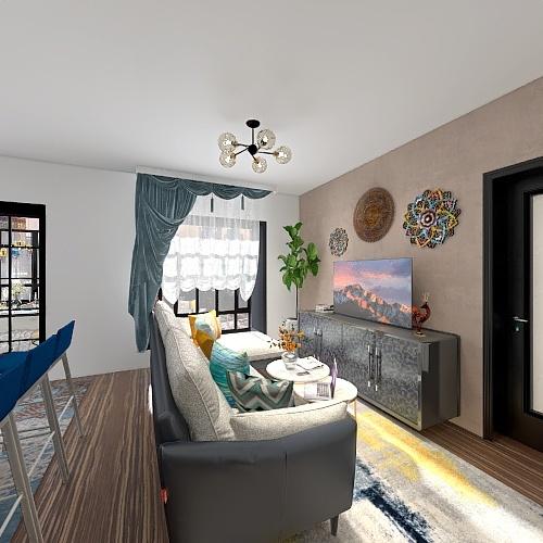 Casa con 2 balconi Interior Design Render