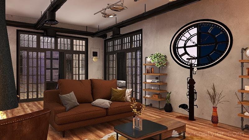 appartement industriel Interior Design Render