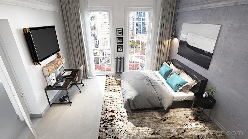 Room 1- Classic Grey and White Interior Design Render