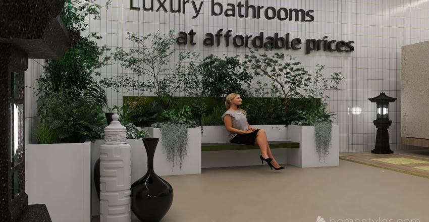 Bathrooms and Bonsai..... commercial showrooms Interior Design Render