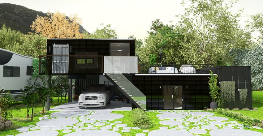 Shipping Container home Interior Design Render