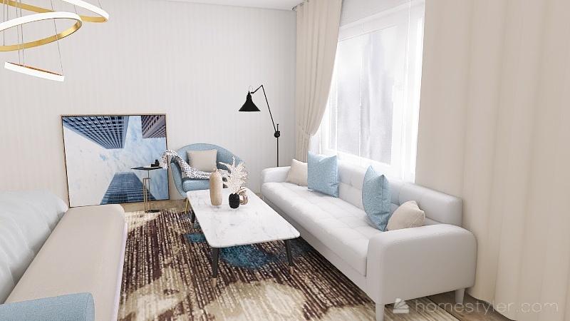 bedroom blue Interior Design Render
