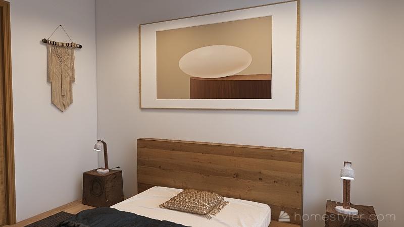 appartement blanc et bois Interior Design Render