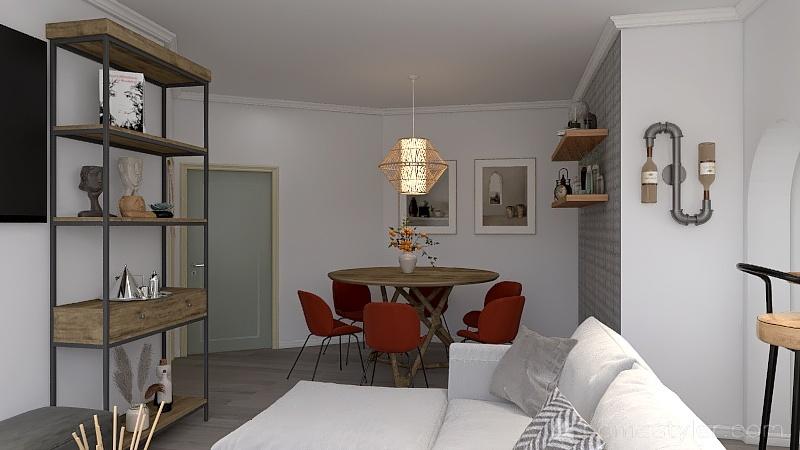 Studio apartment boho style Interior Design Render