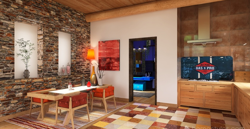 Ancienne magnagnerie retapée dans les Cevennes Interior Design Render