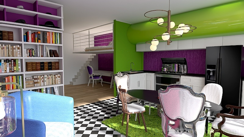 Alice no país das maravilhas porta do banheiro no quarto Interior Design Render