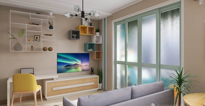 Project2 - Flat for young family (1 room) Interior Design Render