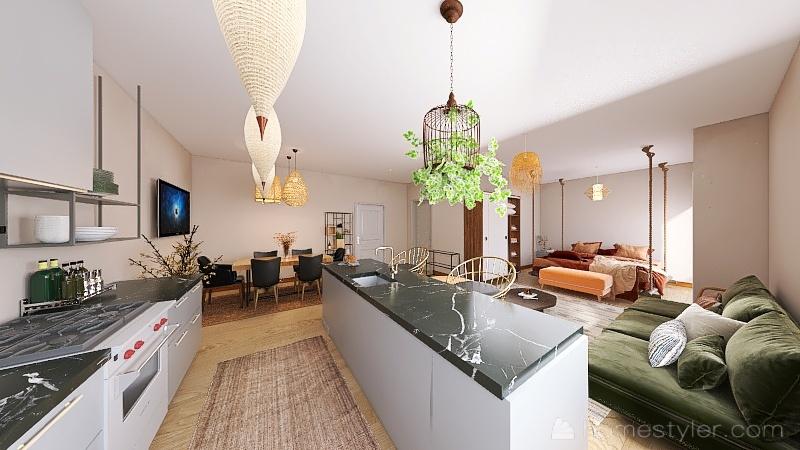 Modern Bohemian 1 Bedroom Studio Interior Design Render