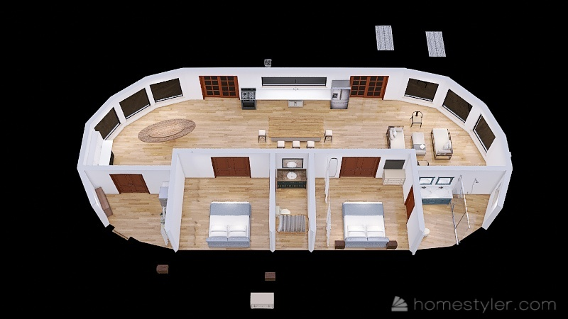 Seagrape 66 ft Traced-side laundry Interior Design Render
