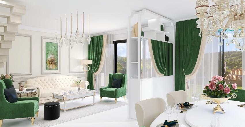 Living room + dining, Neoclassic Interior Design Render