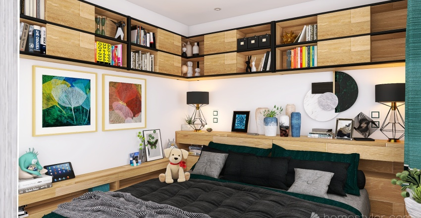 One and a half room apartment Interior Design Render