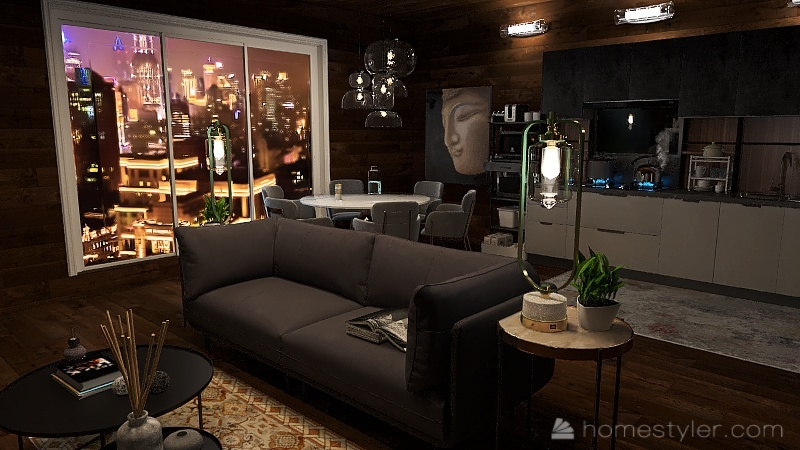 City living, out on the water Interior Design Render