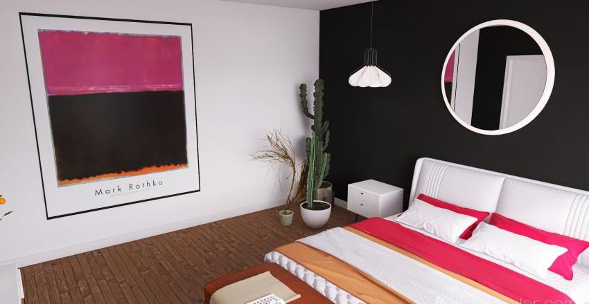 Sunset bedroom. Interior Design Render