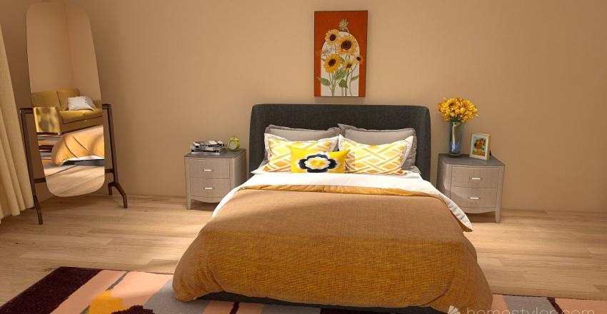Yellow Bedroom Interior Design Render