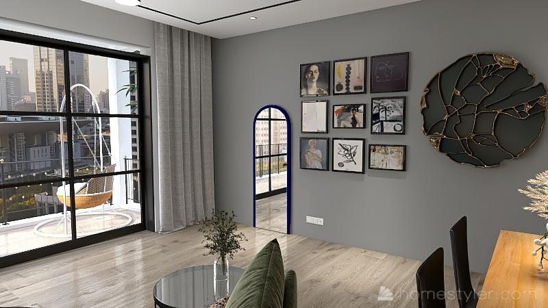 Green apartment Interior Design Render