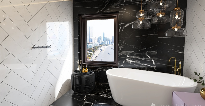 Black marble Interior Design Render