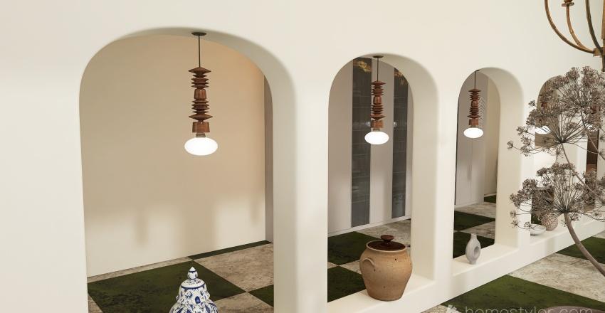 Warm boho Interior Design Render